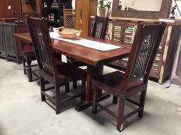 elegant brown varnished oak wood dining table and antique high back chairs sold in san diego antique chair styles furniture e2