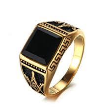 Bishilin <b>Fashion</b> Jewellery Stainless Steel Ring Mens <b>Black Square</b> ...