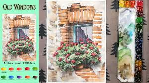 Landscape Watercolor - Old <b>Window</b> (sketch & <b>color</b> mixing, Arches ...