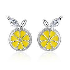 Women's Cute <b>Fashion 925 Sterling</b> Silver Epoxy AAA CZ Lemon ...