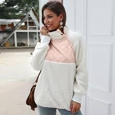 Women Warm Fleeces <b>Sweatshirt Turtleneck Buttoned</b> Raglan Long ...