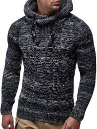 Men's Fashion Slim Sweater Hooded Patchwork Twist Knit Top Sale ...