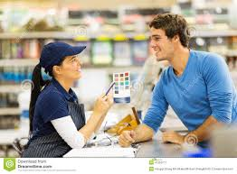 paint store assistant helping customer stock photo image  paint store assistant helping customer