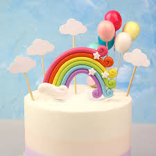 colorful rainbow cake topper birthday wedding cupcake cloud balloon flags party baking decorations supplies