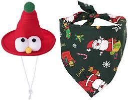 SlowTon Holiday Dog Bandanas & Funny Hat Set ... - Amazon.com