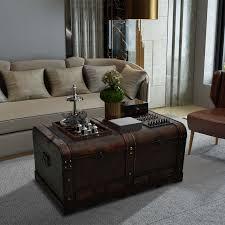 room vintage chest coffee table:  vintage large wooden treasure chest brown coffee table
