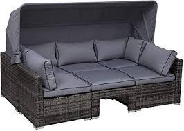 Outsunny Rattan <b>Lounge Set</b>, Seating <b>Set</b> with Sun Canopy, <b>Garden</b> ...
