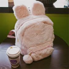 Cute Bunny Ears Backpack Rabbit Fur Double <b>Shoulder</b> Bag ...