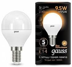 <b>Лампа Gauss LED</b> Шар E14 9.5W 890lm 3000K 1/10/50 (GAUSS ...