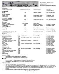 resume stage manager resume template stage manager resume template