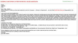 sales associate job titleretail sales associate job offer letter
