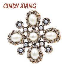 <b>CINDY XIANG</b> 3 Colors Choose Pearl Cross <b>Baroque</b> Brooches for ...