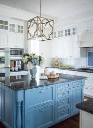kitchen island granite top sun: cornflower blue kitchen island with black granite countertop