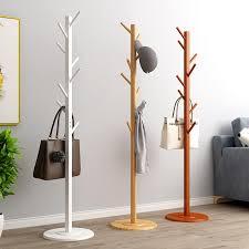 100% Solid Wood Coat Rack Single Rod Hanger <b>Waterproof</b> Floor ...