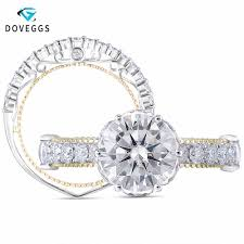 <b>DovEggs</b> 14K 585 Yellow Gold 3ct Center 9mm F color 2.2mm Band ...