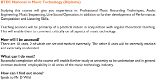 list of courses vocational rsa academy btec national in music technology diploma
