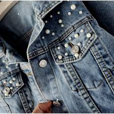 <b>Plus Size</b> Pearl Beading Short Denim Jackets 3Xl <b>5Xl Women</b> White ...