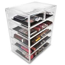 plastic makeup organizer put bathroom: amazoncom sorbus acrylic cosmetics makeup and jewelry storage case display  large and  small drawers space saving stylish acrylic bathroom case home