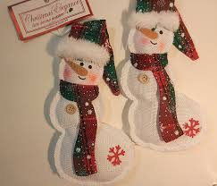 COUNTRY <b>CHRISTMAS SNOWMAN</b> ORANAMENTS SET OF TWO ...