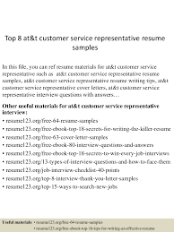 top 8 at t customer service representative resume samples