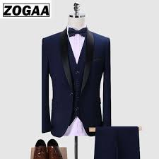 <b>ZOGAA Brand Men</b> Suit 2019 Wedding Suits for <b>Men</b> Shawl Collar 3 ...
