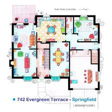 Incredibly Detailed Floor Plans Of The Most Famous TV Show HomesThe Simpsons