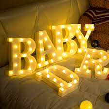 Luminous LED Letter Night Light Creative <b>26 English Alphabet</b> ...