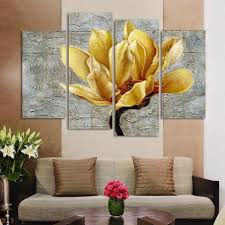 Fashion Unframed Abstract <b>Painting</b> 4 Panels <b>gold Flower Modern</b> ...