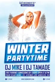 winter flyer psd templates for photoshop winter party time psd flyer template