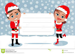 santa claus couple holding blank card royalty stock image santa claus couple holding blank card