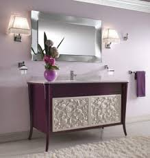 double sink bathroom vanity black finish stained plastering wall grey polished ceramic wall white purple bathtub ceramic purple black white