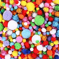 HEHALI 1000pcs Pom Poms Craft Making Assorted <b>Sizes</b> & Colors ...