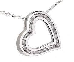 Naava Women's 9 ct White Gold <b>Round</b> Diamond Heart <b>Pendant</b> on ...