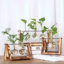 Retro Wooden Board Wall Hanging Vase <b>Plant Hydroponic</b> ...