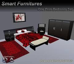 bedroom set black red furniture rezzer low one 1 prim zero prim smart furniture black and red furniture