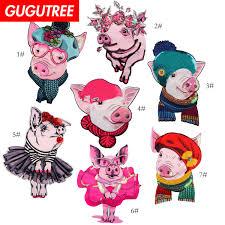 GUGUTREE embroidery Sequins big pig patch cartoon animal ...
