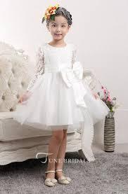 <b>Lovely</b> Tulle <b>Lace Flower Girl</b> Dress Bowknot Long Sleeve Zipper ...