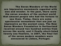 essay on  wonders of the world  wwwgxartorg new seven wonders of the world