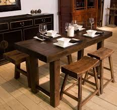 long wood dining table: long narrow hardwood dining table with stools and bench set