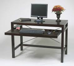 black stained oak wood computer table with keyboard drawer and u shape stretcher also square desk art deco desk computer