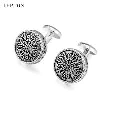 Hot Round Vintage Cufflinks For Mens with Gift Box <b>Lepton</b> Baroque ...