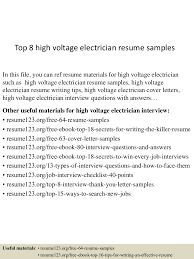 electrician resume samples sample first job resume s cover thumbnail 4jpg cb 1432976356 top8highvoltageelectricianresumesamples 150530085822 lva1 app6892 thumbnail 4 top 8 high voltage electrician resume samples