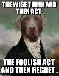 The Wise Think And Then Act . - Dog meme on Memegen via Relatably.com