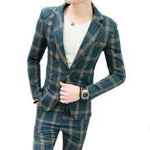(Jacket+pants) <b>2019 New Fashion</b> Retro Plaid Suit Trailblazer Men's ...