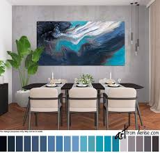 Navy long horizontal <b>wall art canvas</b>, Abstract blue brown ...