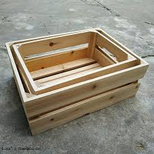 stack <b>set 2</b> pieces rectangle small solid unfinished wood <b>crate</b> ...