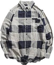NOBRAND <b>Spring and Autumn Men's</b> Large Plaid Shirt Men's Loose ...