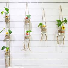 Simple <b>Pastoral</b> Glass Bottles <b>Hydroponic Plants</b> Wind Chimes ...