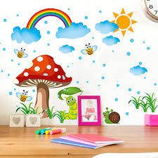 sun rain and rainbow wall art stickers kids babies nursery decor wall poster cartoon animals snail baby nursery cool bee animal