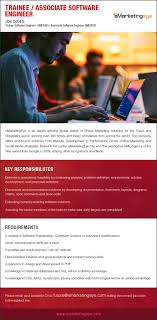 trainee associate software engineer at emarketingeye pvt limited emarketingeye pvt limited are seeking candidate for trainee associate software engineer position you need a degree in software engineering computer